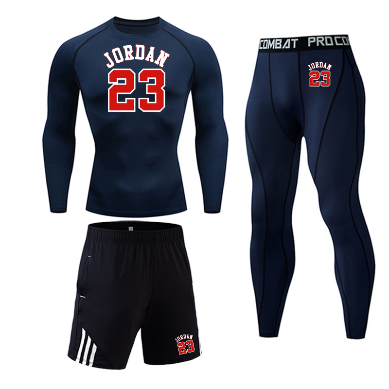 Autumn Winter Tracksuit Suit Men Gym Jogging Base Layer Sport  Full Man Track Suit Compressed Clothing Jordan 23 Printed Tights