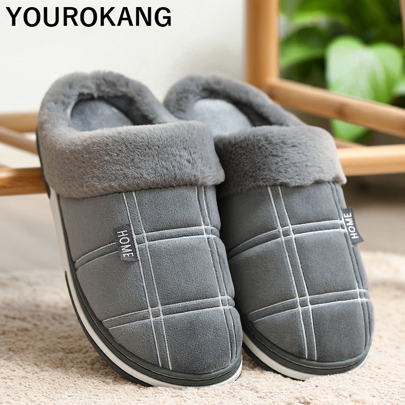 Winter Plush Men Shoes Warm Family Home Slippers Striped Indoor Floor Furry Cotton Couple House Slippers Soft Unisex Plus Size in Slippers from Shoes