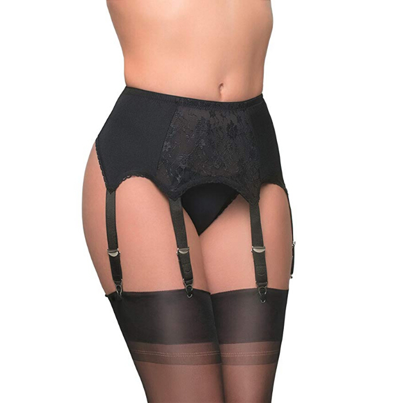 Female Plus Size Sexy Vintage High Waist Lace 6 Straps Belts Underwear Garters Mesh Elastic Stocking Suspender
