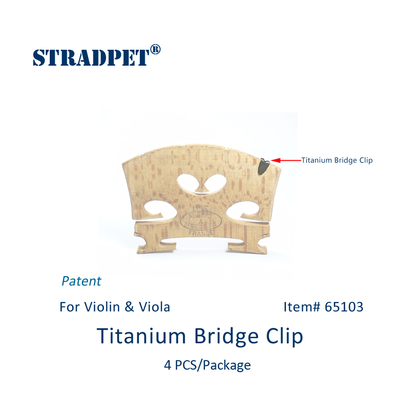 New Patent, STRADPET Titanium Bridge Clip for Violin and Viola, 4 PCS in 1 package, Clips Only without Bridge!(China)