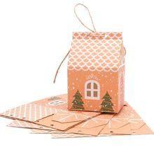 50/100pcs House Shape Christmas Candy Gift Bags With Ropes Xmas Tree Cookie