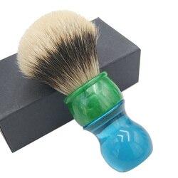 Dscosmetic 26mm 2 bandas de pelo de tejón cepillo de afeitar con mango azul