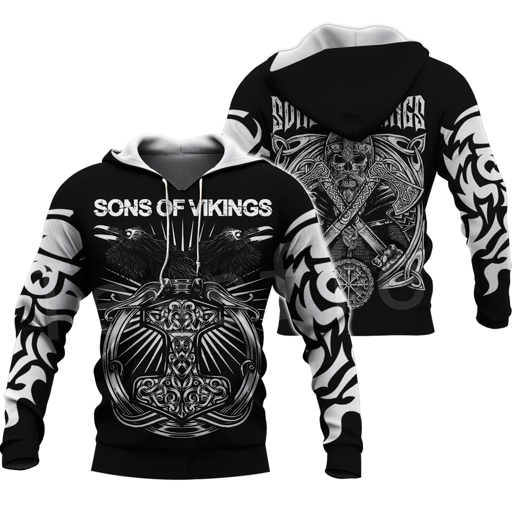 Tessffel Unisex Vikings Symbol Tattoo Viking Warriors NewFashion Harajuku MenWomen 3DPrint zipper/Sweatshirts/Hoodies/Jacket s-7