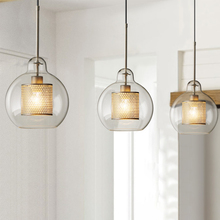 Nordic Minimalist Metal Grid Glass Pendant Lights Ball Loft Industrial Retro Small Hotel Restaurant Art Personality Lamps