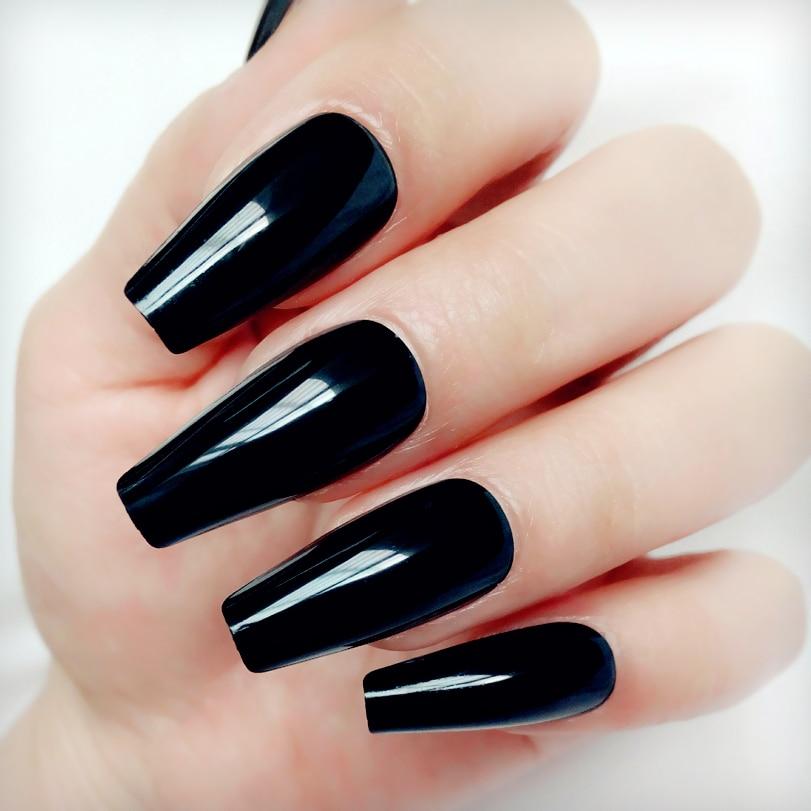 24Pcs Glossy Black Long Stiletto Fake Nail Ballerina Coffin False Nails For Design DIY Full Cover Lady Finger Tips Manicure Tool