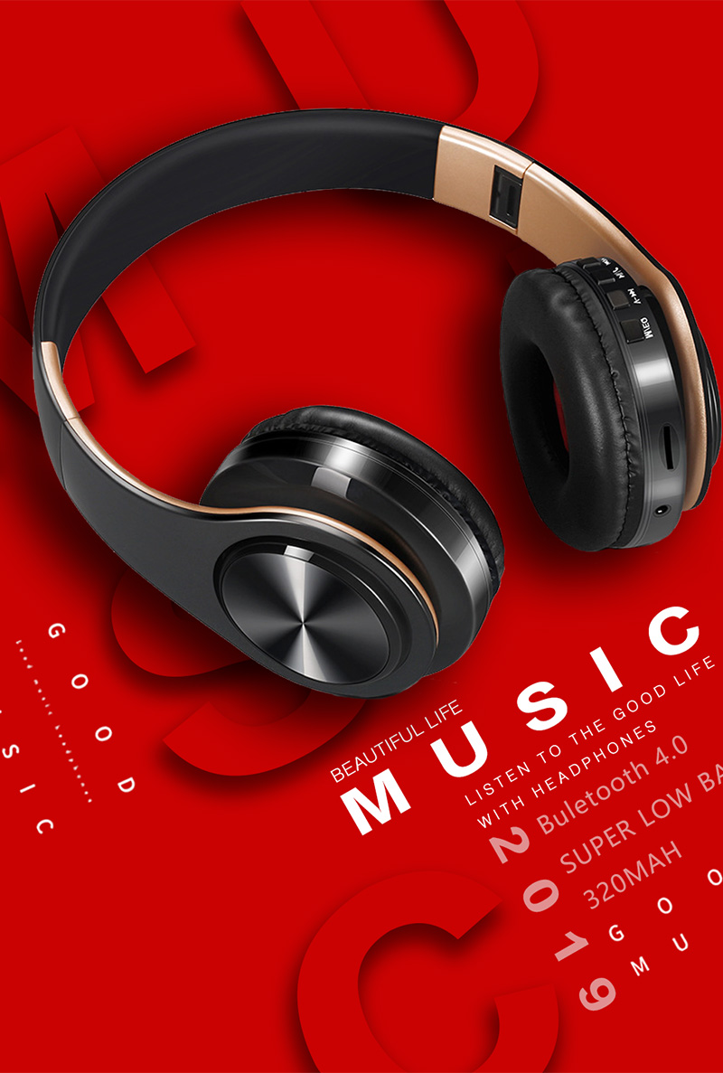 Foto from the top Wireless foldable headphones with mic. Foldable wireless earphones for mp3