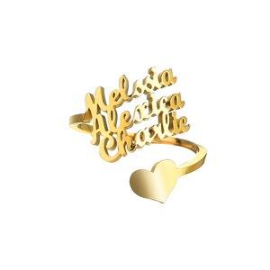 Индивидуальные Кольца с 3 именами, регулируемые женские Семейные кольца из нержавеющей стали, уникальные подарки на день рождения|Индивидуальные Кольца|   | АлиЭкспресс