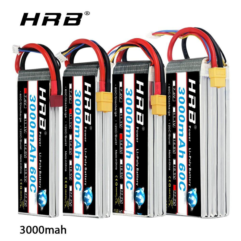 HRB RC <font><b>Lipo</b></font> Battery <font><b>2s</b></font> 3s 4s 6S 22.2v <font><b>3000mah</b></font> 11.1v 14.8v <font><b>lipo</b></font> 60C For rc car boat Airplane 450 500x 550E 600 helicopter Drone image