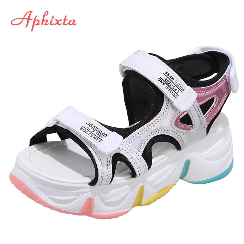 Aphixta Big Size 42 Wedge Heels Women's Sandals Rainbow Sole Design Female 5.5cm Platform Sandals Height Increasing Shoes Women Middle Heels  - AliExpress