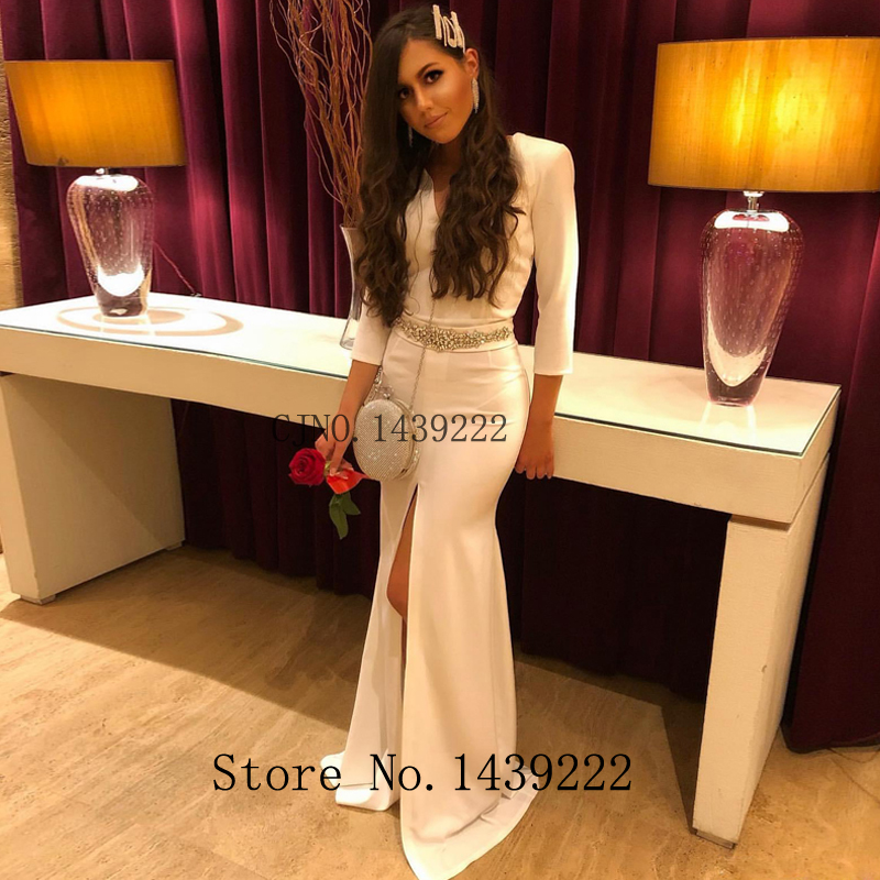 White Straight Satin Long Evening Dresses Prom Beads Vestidos De Fiesta De Noche Robe De Soiree Plus Custom Made Plus