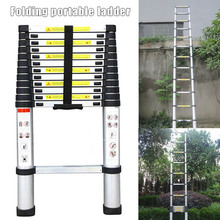 12.5ft 3.8m Telescopic Extension Step Ladder Aluminum Alloy Folding Multi Purpose