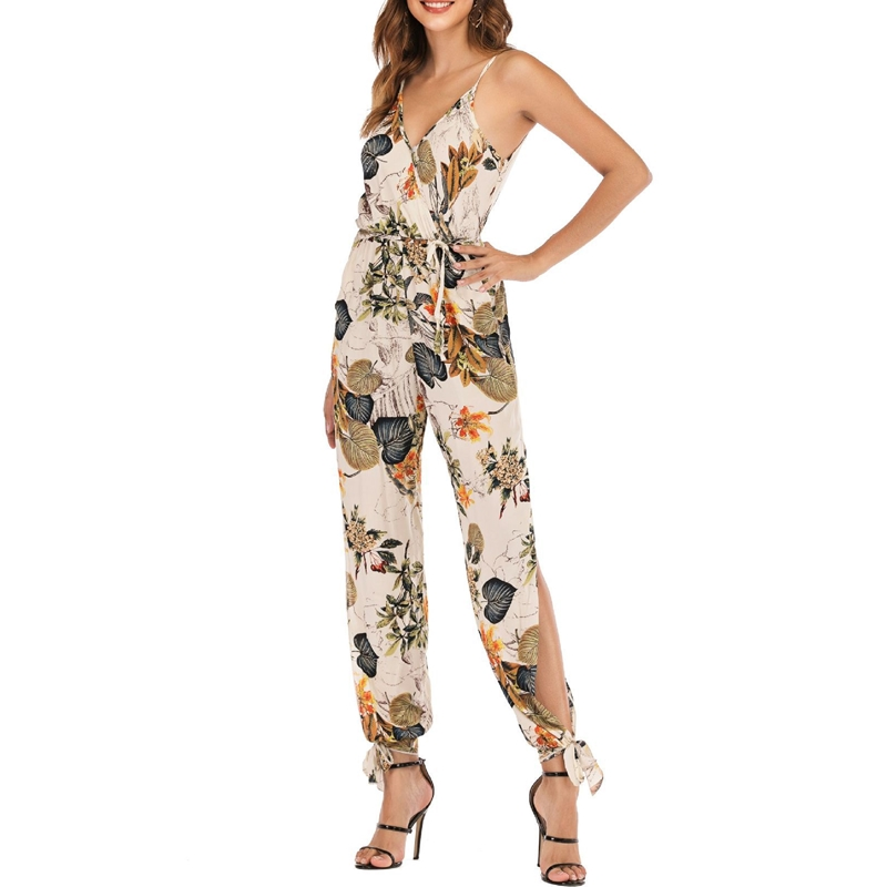 Boho Floral Jumpsuits Women Summer Strap V Neck Tunic Jumpsuit Playsuits Rompers Woman Holiday Beachwear Vogue Trousers 2019 New