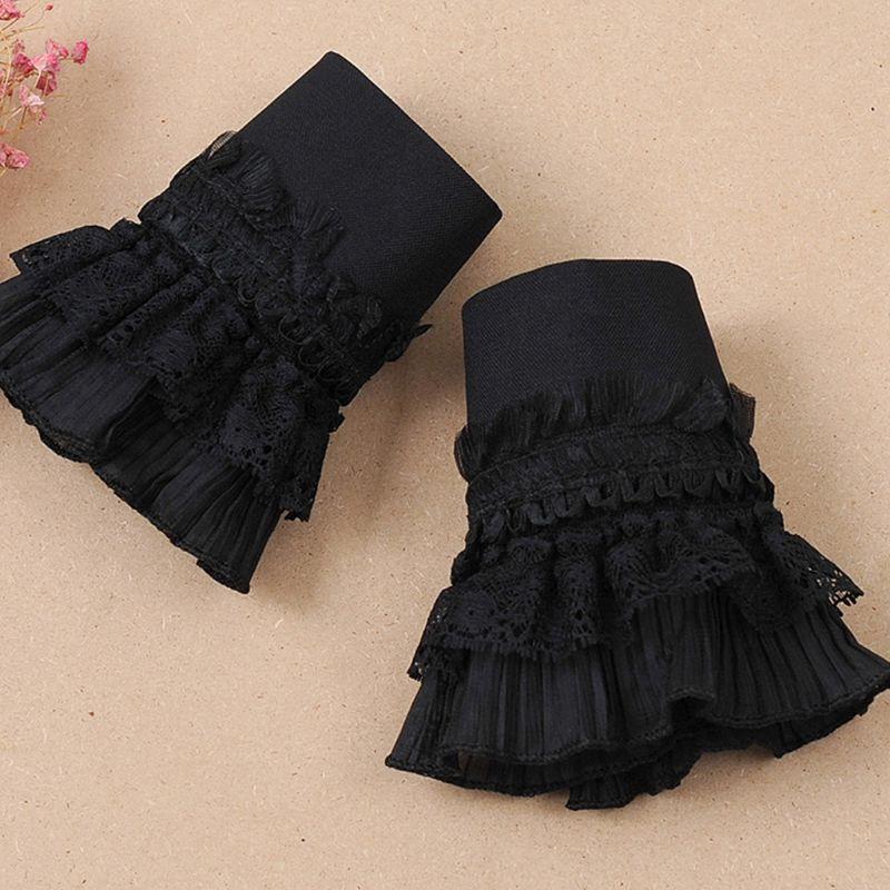 Gothic Retro Black Detachable Sleeve Fake Cuffs Multi Layer Ruffles Lace Patchwork Lolita Princess Sweater Decorative Wristband