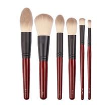 Japanse Merk + SP Dark Red 6 Stuks Make Up Kwasten Set Zachte Poeder Borstel Cosmetische Tool Accessiories