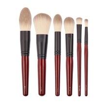 Japońska marka + SP ciemno czerwony 6 sztuk zestaw pędzli do makijażu miękki pędzel do pudru narzędzie kosmetyczne akcesoria