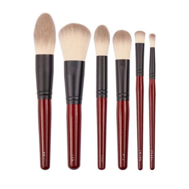 Японский бренд + SP темно красный 6 шт набор кистей для макияжа, Мягкая косметическая кисть для пудры, аксессуары для инструментов