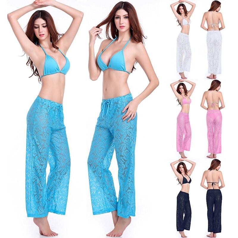 SWIMMART Leise Loose Wide Leg Lace Beach Pant 2020 Summer nastavitelný pas - kravata zakrýt kalhoty Sexy Lace Pant Drop Shipping