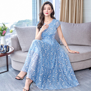 Шифоновое Платье макси с цветочным принтом 3XL размера плюс, весна-лето 2020, винтажные модельные платья миди, элегантные женские облегающие ве...