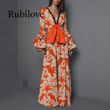 Rubilove Fashion Women Lantern Sleeve Print Jumpsuits Sexy V-Neck Boho Wide Leg Bohemian Lady Long Summer Beach