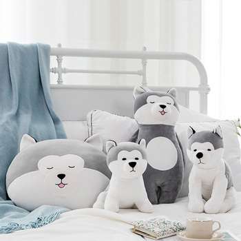 35-50cm Large Plush Stuffed Toys Pillow Cute Husky Gray Cartoon Doll Children Birthday Gift Animal Dog Stuffed Toys Soft Cushion 18cm genuine husky plush toys cute soft animal dog toys doll creative gift for kids birthday gift