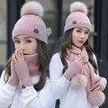 2020 Новая женская зимняя шапка шарф/наборы перчаток женский костюм из трех предметов вязаный набор шапки и шарфа шапки для маленьких девочек...
