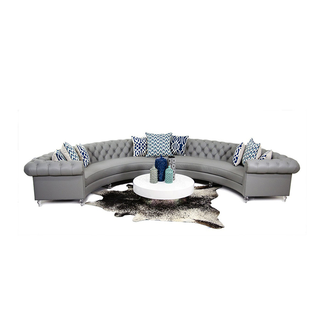 Chesterfield Arc-Shaped  Leather Conversational Sofa 3