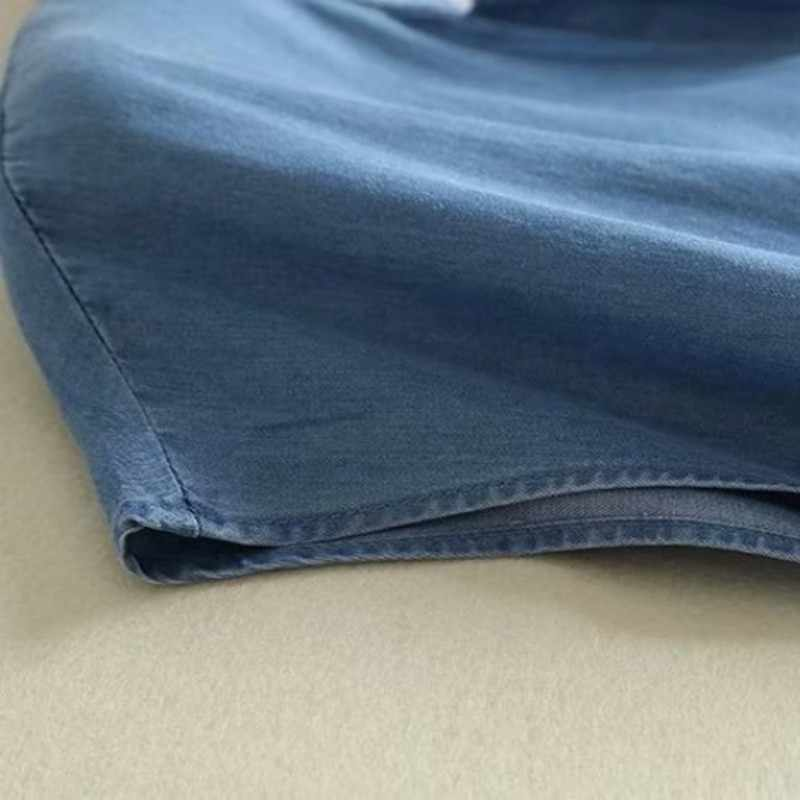 V-hals Dunne Vintage Denim Jurk 2020 Nieuwe Zomer Mouwloze Gedrapeerde Solid Blue Casual Dress Elegante Enkele Breasted Lange Vestido