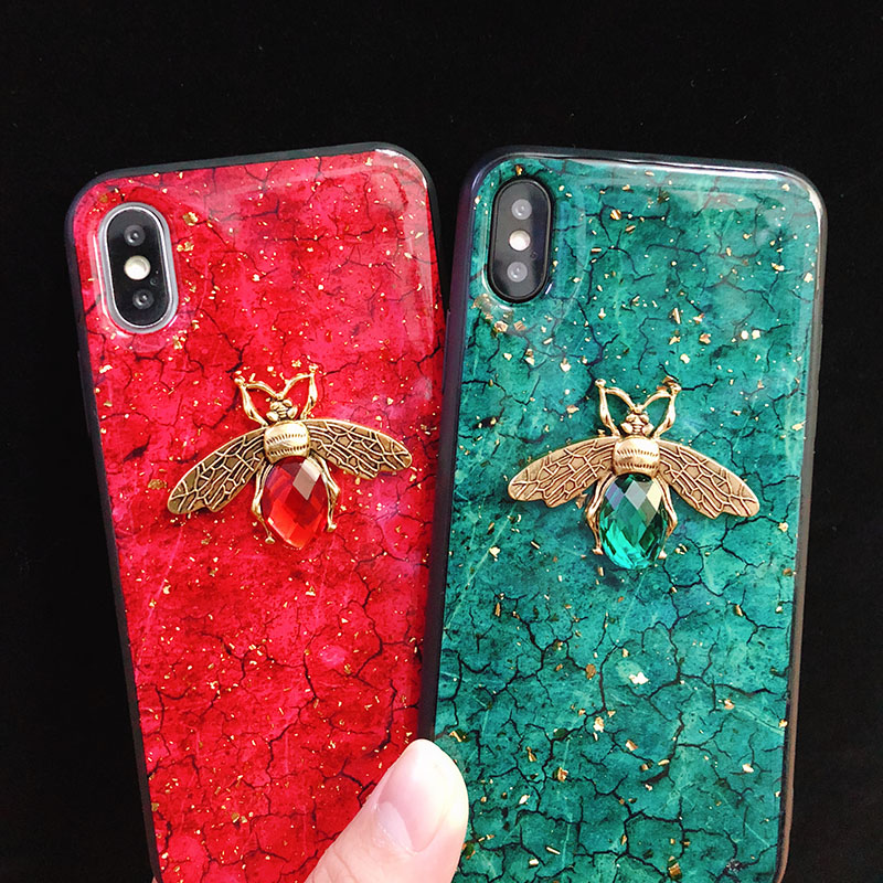 Glitter Gold Foil Marble 3D Bee Soft <font><b>Case</b></font> for xiaomi mi 8 lite cc9 9 se A1 A2 5X 6X <font><b>redmi</b></font> 7 6 pro 7A Note 7 <font><b>k20</b></font> pro shell cover image