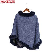 5 Colors 2020 Navy Blue Poncho Plus Size Tufted Fur Pullover Coat Winter Warm Knitted O Neck Faux Fox Fur Sweater Women Capes(China)