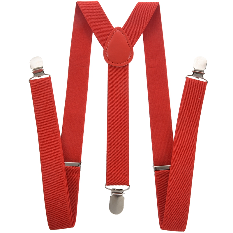 Lady Woman Adjustable Metal Clamp Elastic Suspenders Braces - Red