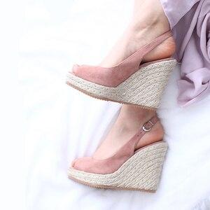 Image 2 - Donna in Platform Sandals Wedge Women Genuine Leather Super High Heels Open Toe Beach Fashion Female 2020 Summer Ladies Shoes