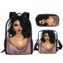 NOISYDESIGNS School Backpack for Children 3pcs Bags Set Students Afro Girl Black Art African Printing Schoolbag Kids Bag