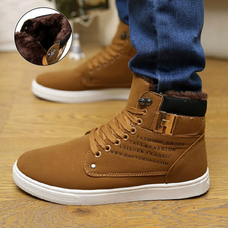 Winter Men Boots 2020 Fashion Solid Lace-up Keep Warm Casual Flat Shoes High Top Sneakers Plus Size