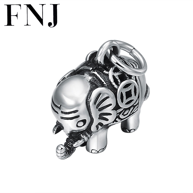 FNJ 925 Silver Pendant Elephant Coins Heart Original Pure S925 Thai Silver Pendants For Jewelry Making Men Women