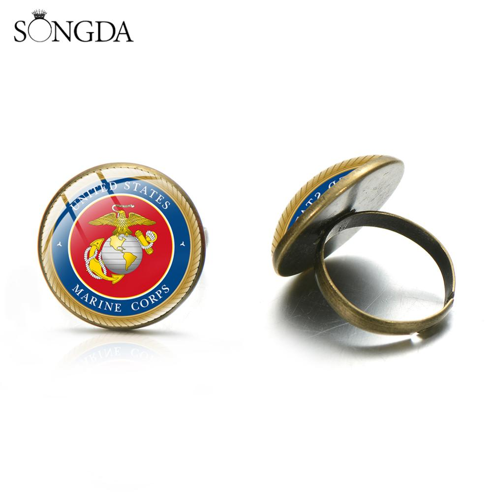 United States Marine Corps Collectible <font><b>Rings</b></font> High Quality USAR USN USAF <font><b>USMC</b></font> USCG Symbol Glass Dome Adjustable Size <font><b>Ring</b></font> image