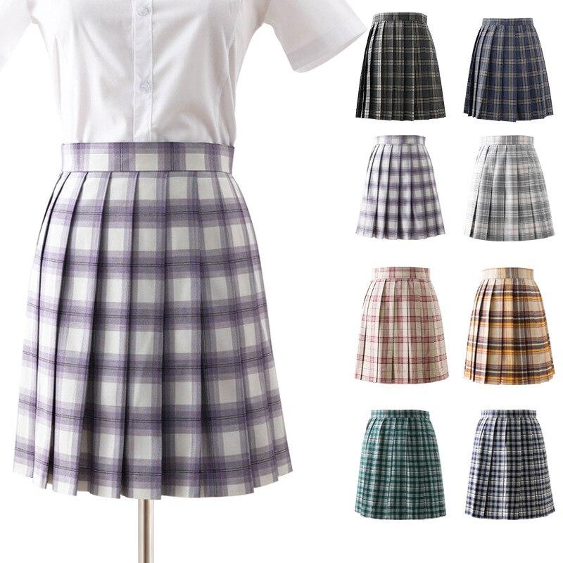 Women Summer High Waist Pleated Plaid Skirt 2020 Female Anime Short Skirts Cute Mini Skirt Jk Uniforms Sailor Suit Short Skirts