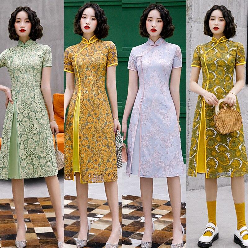 Women elegant evening dress Chinese wedding party bride qipao print flower oriental retro show cheongsam M-3XL
