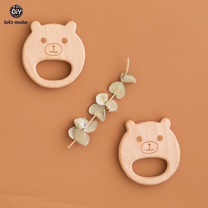 Let's Make 1pc Wooden Teethers Bear Shape Bpa Free Wooden Baby Teether Cartoon Wood Animals Diy Nursing Bracelet Baby Teether