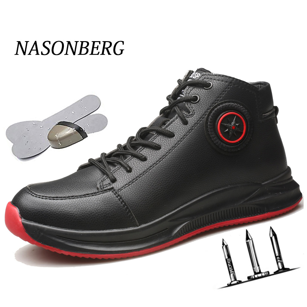 NASONBERG Waterproof Steel Toe Work Shoes Wear Resistant Working Shoes Men Puncture Prevention Boots Men Safety Work Shoes image