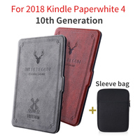 Case For 2018 Amazon Kindle Paperwhite 4 Deer Print UP Silicone Cover 10 Generation Slim Smart Magnetic Soft Shell Protector
