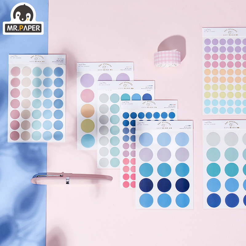 Mr.paper 7 Designs 3Pc Color Dot PET Sticker Scrapbooking Planner Laptop Japanese Cycle Toy Cool Doodling Decorative Stationery 3
