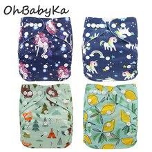 Ohbabyka новые многоразовые подгузники с единорогом, детские тканевые подгузники, моющиеся, экологически чистые подгузники, детские подгузники, моющиеся подгузники
