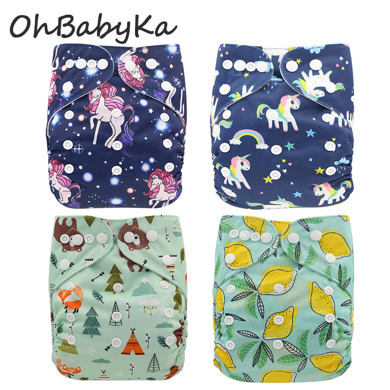 Ohbabyka New Unicorn Reusable Diapers Baby Cloth Diaper Washable ECO-Friendly Diaper Couche Lavable Baby Nappy Washable Nappies