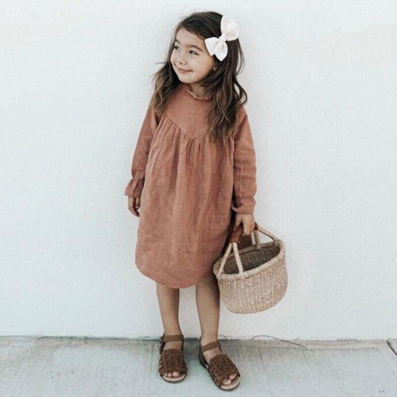2020 Spring Baby Girls Dresses European & America Toddler Kids Girls Dress Linen Dress Princess Kids Clothings