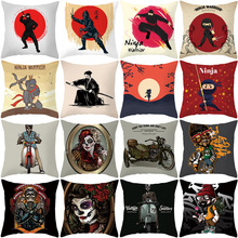 Japanese Ninja Character Polyester Home Decorative Cushion Cover For Sofa  Cartoon Teenage Throw Pillow Printed Pillowcase
