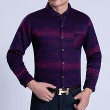 Men Cashmere Wool Shirts Autumn Winter Thicken Warm Tops Blue Purple Gradual Cross Stripe Business Smart Casual Blouse Plus Size