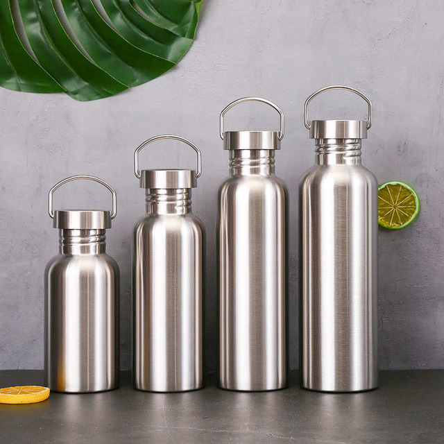 Stainless Steel Sports Water Bottle with Drinking Straw lids Cap Vacuum Flask Single Wall Hot Cold Water Bottle 500/750/1000ml 2