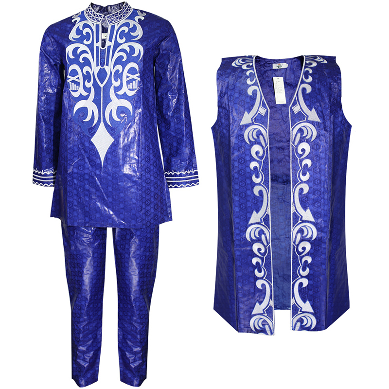 H&D 2019 African Clothes For Men Dashiki Vest Shirt Pant 3 Pcs Suit Embroidery Bazin Riche Trouser Set African Man Formal Attire