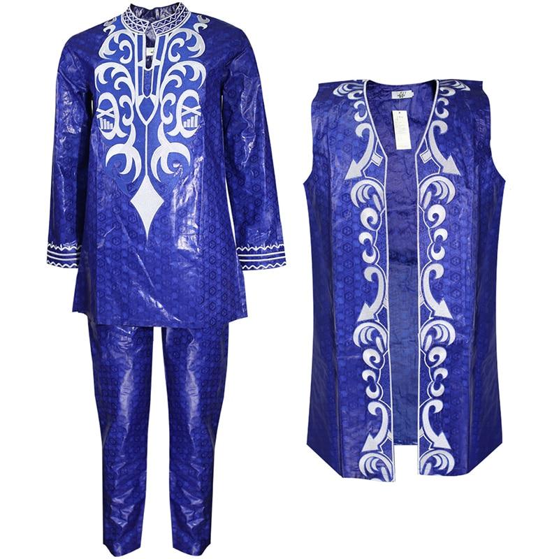H&D 2020 African Clothes For Men Dashiki Vest Shirt Pant 3 Pcs Suit Embroidery Bazin Riche Trouser Set African Man Formal Attire
