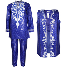 African Bazin Men Dashiki Suit Pant Shirt Riche-Trouser-Set for Vest 3pcs Embroidery